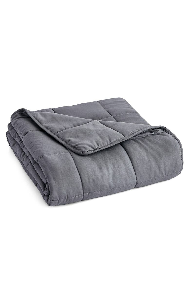 """PUR SERENITY 12 lbs Microfiber Weighted Blanket 48x72"""" - Charcoal, Main, color, CHARCOAL"""