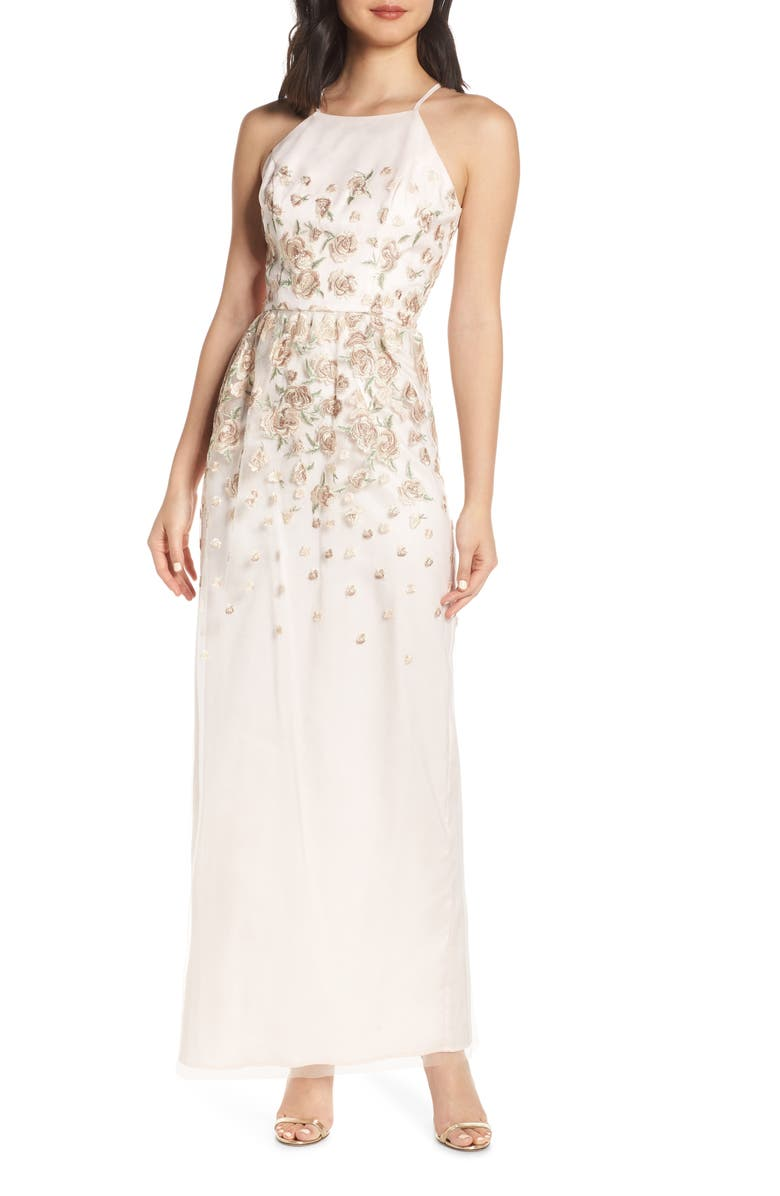 CHI CHI LONDON Madelyn Embroidered Mesh Column Gown, Main, color, 650