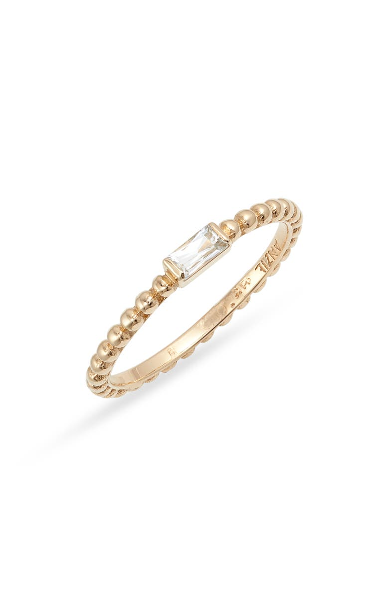 ANZIE Dewdrop White Topaz Stacking Ring, Main, color, YELLOW GOLD/ WHITE