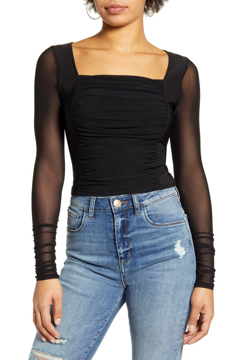 ONE CLOTHING Mesh Top, Main, color, 001
