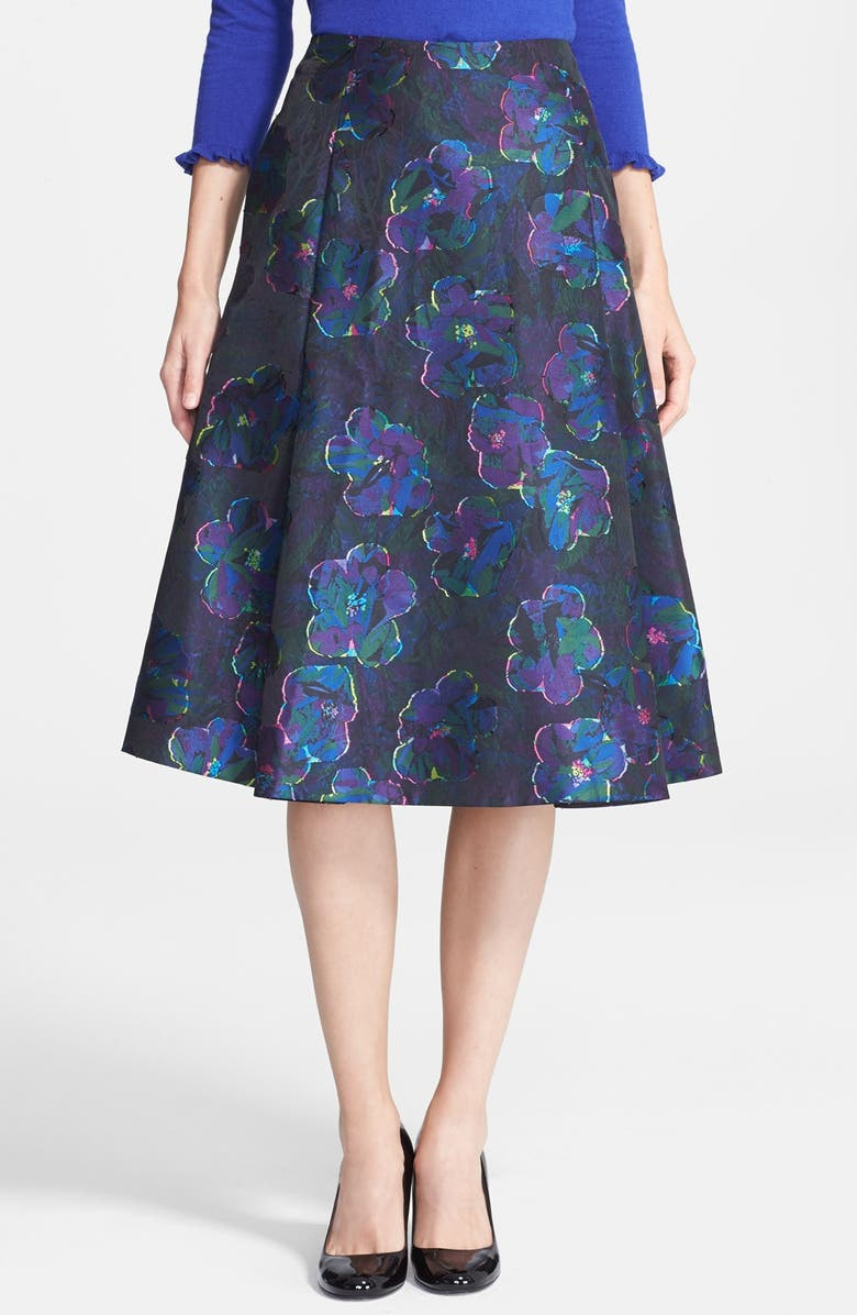 KATE SPADE NEW YORK 'clip dot' floral a-line skirt, Main, color, 001