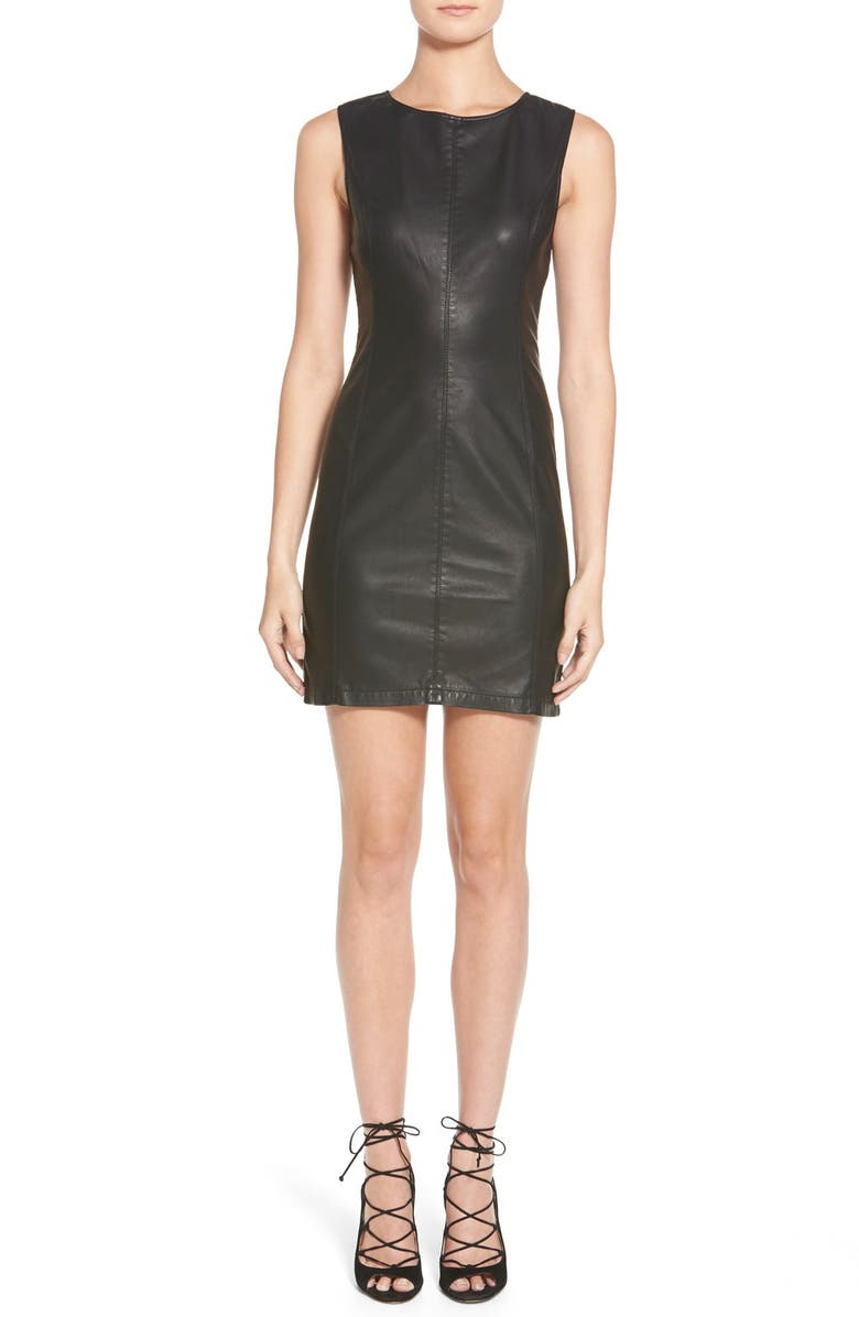 CUPCAKES AND CASHMERE 'Grace' Faux Leather ShiftDress, Main, color, 001