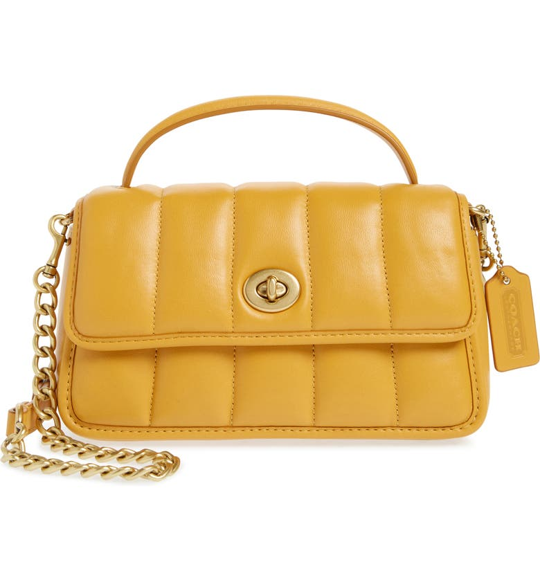 COACH Turnlock 20 Quilted Leather Crossbody Bag, Main, color, B4/ BUTTERCUP