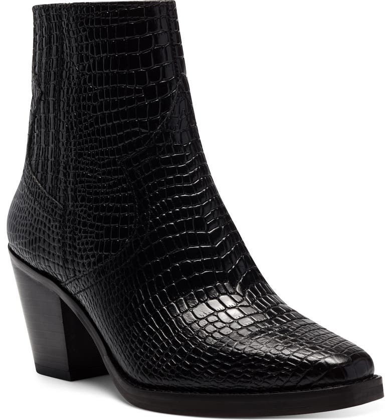 LUCKY BRAND Jaide Western Bootie, Main, color, BLACK LEATHER