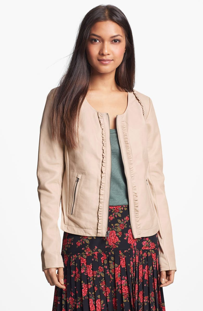 HINGE <sup>®</sup> Ruffle Trim Leather Jacket, Main, color, 101