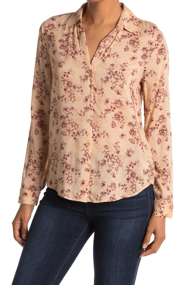LAGENCE Holly Floral Print Woven Button Up, Main, color, RUGOSA CAMEL/BLUSH