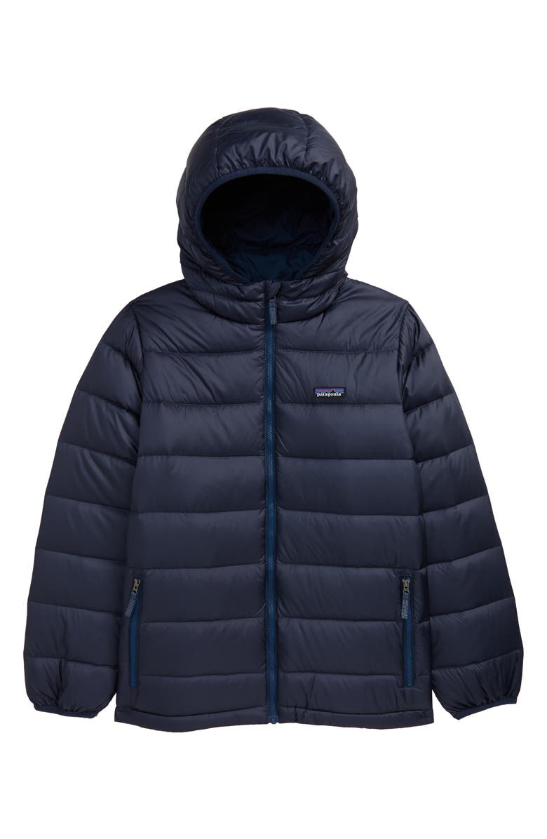 PATAGONIA Hooded Down Jacket, Main, color, NEW NAVY