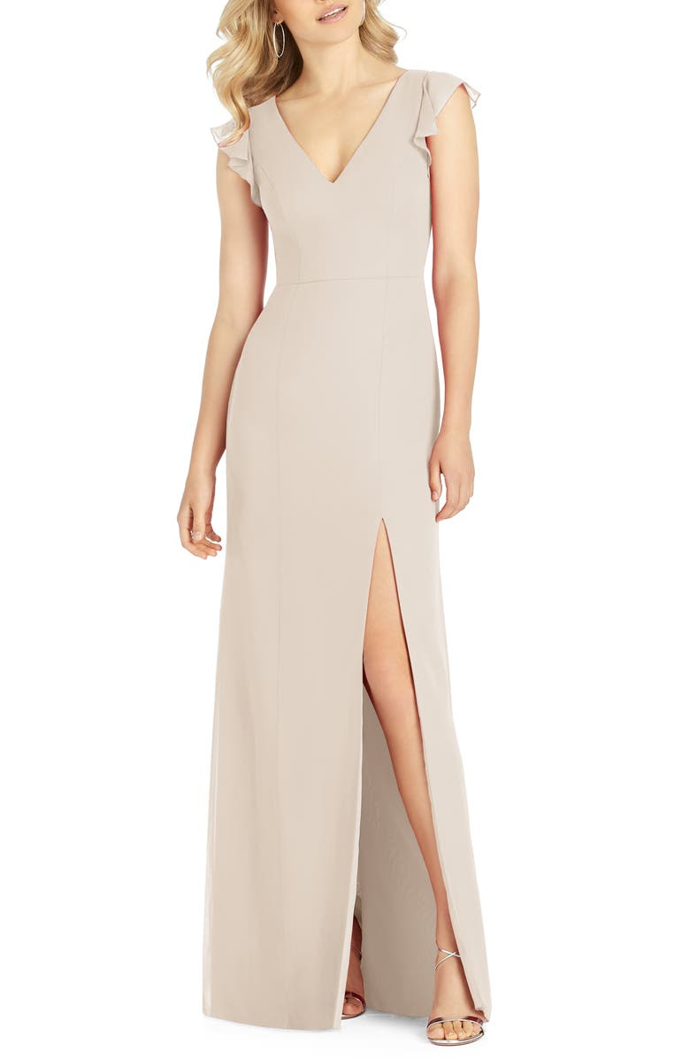 AFTER SIX V-Neck Ruffle Sleeve Column Gown, Main, color, CAMEO