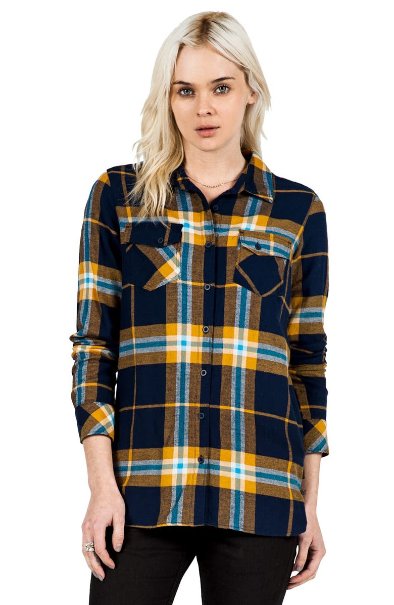 VOLCOM 'Love Me Not' Plaid Button Front Tunic, Main, color, 402