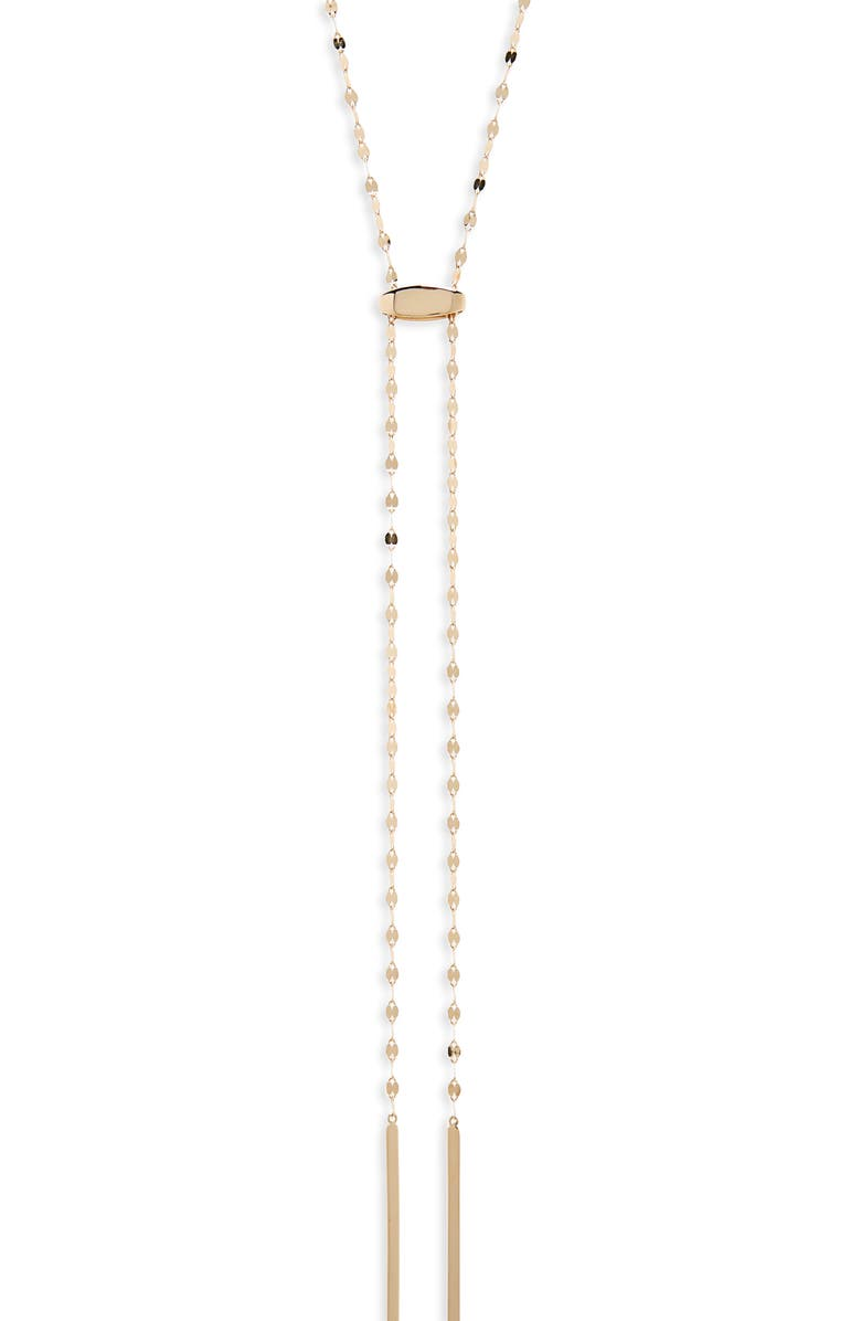 LANA JEWELRY Blake Tie Up Lariat Necklace, Main, color, YELLOW GOLD