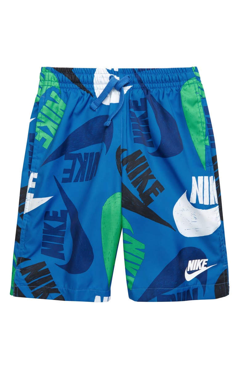 NIKE Sportswear Woven Athletic Shorts, Main, color, PACIFIC BLUE/ WHITE