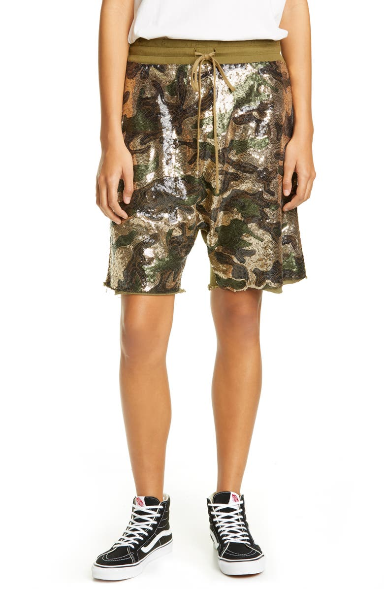 R13 Sequin Camo Panel Shorts, Main, color, 325