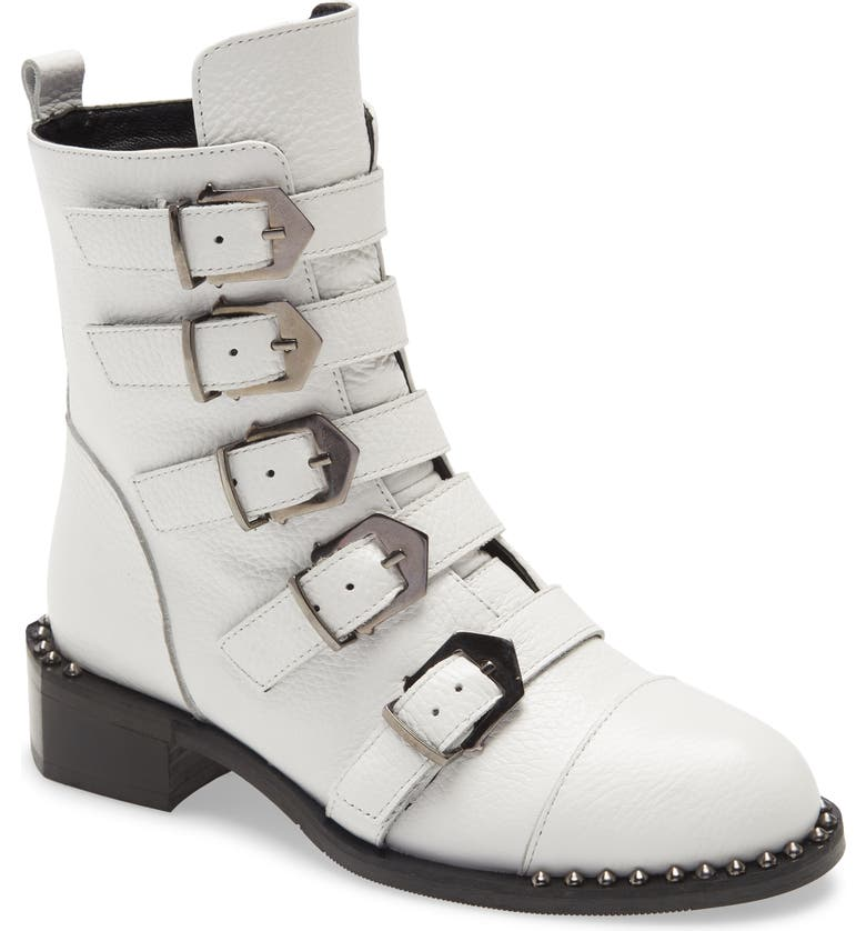 SHERIDAN MIA Knight Buckle Boot, Main, color, WHITE LEATHER