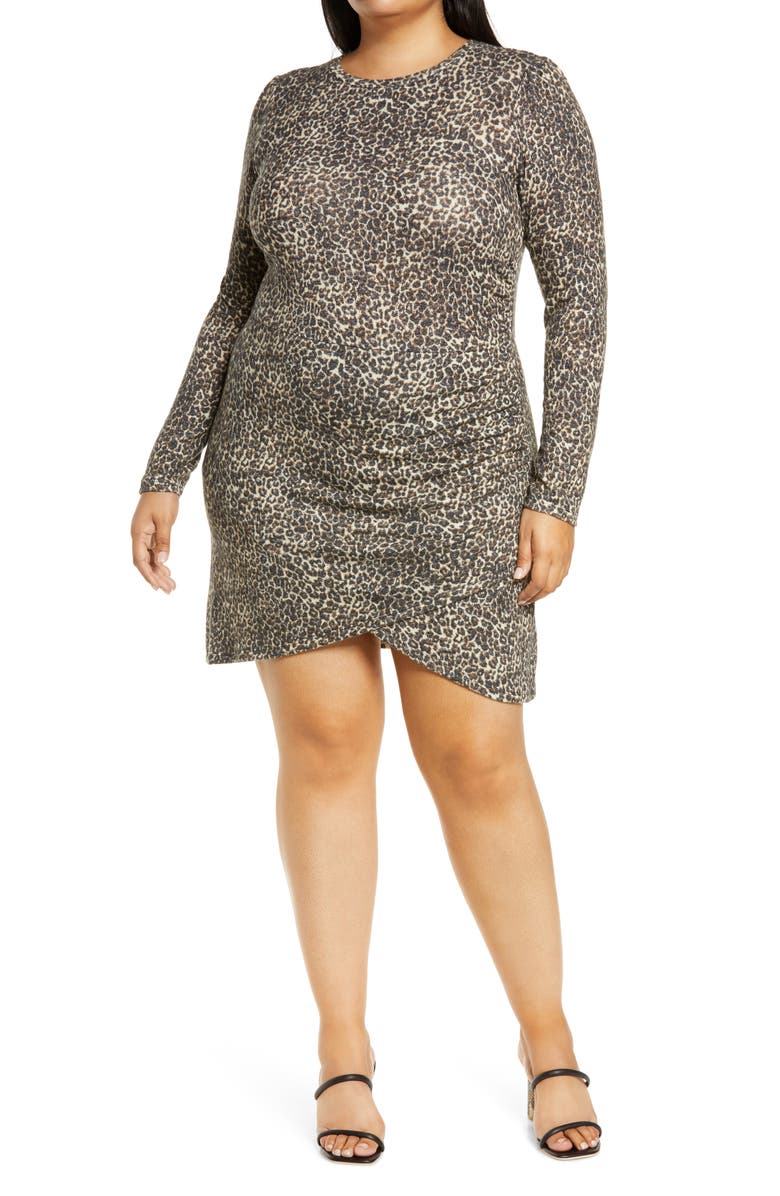 LEITH Brushed Long Sleeve Minidress, Main, color, BEIGE LAYERED LEOPARD