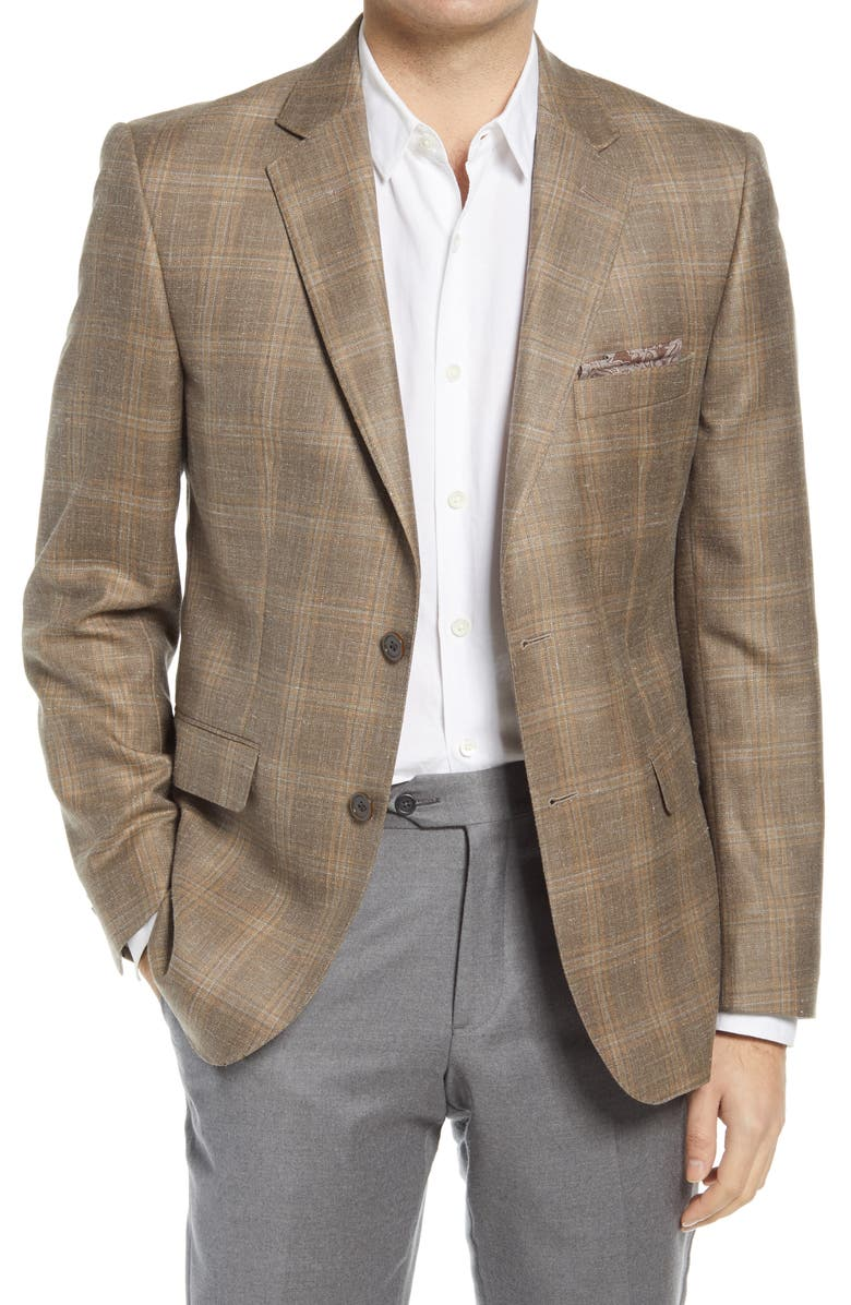 JB BRITCHES Plaid Wool Blend Sport Coat, Main, color, TAUPE