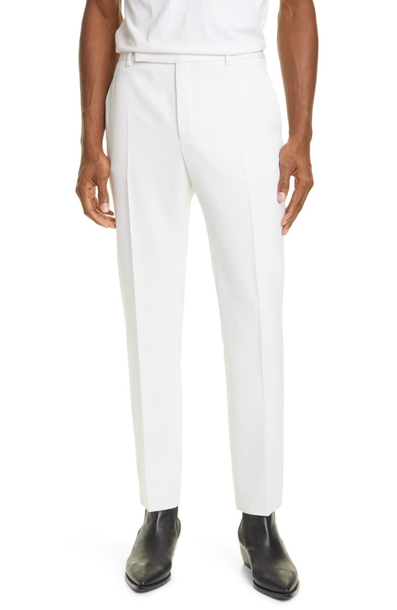 SAINT LAURENT White Wool Straight Leg Pants, Main, color, 118