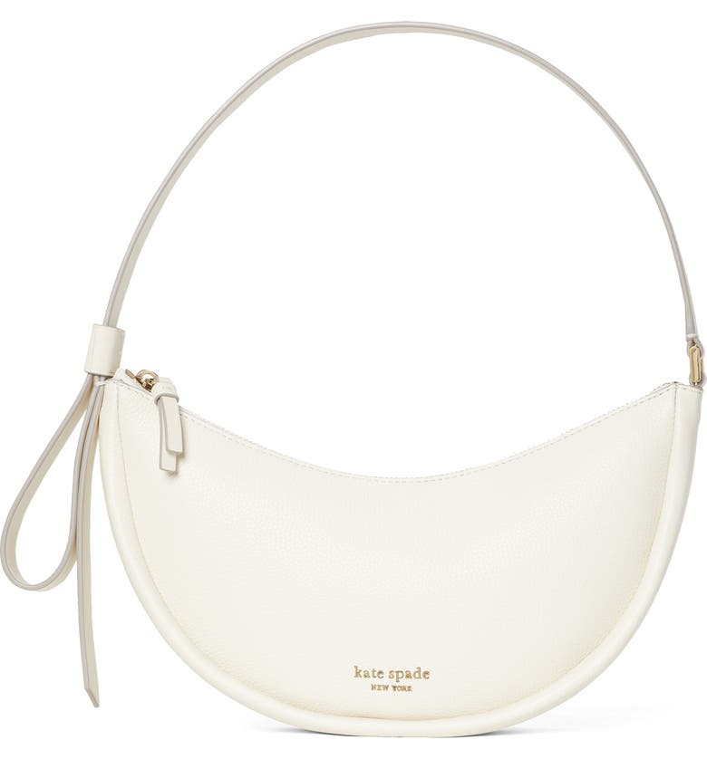 KATE SPADE NEW YORK smile small leather shoulder bag, Main, color, PARCHMENT
