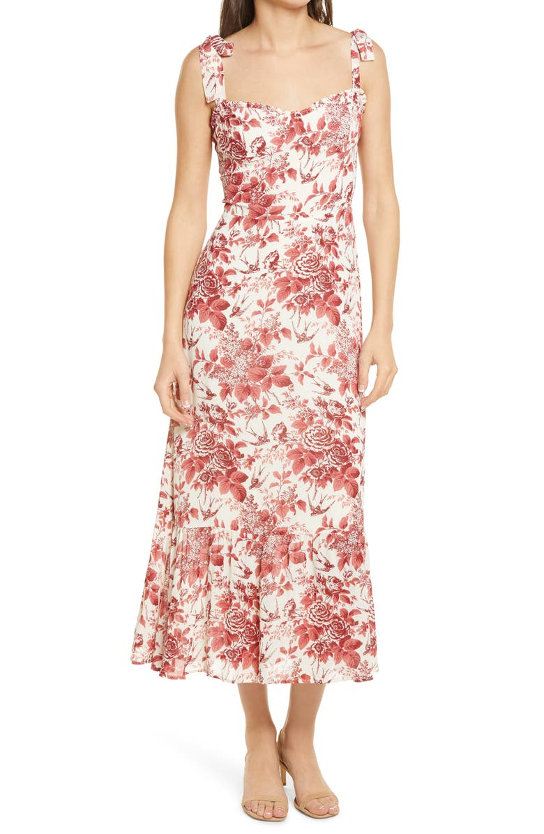 REFORMATION Nikita Midi Dress, Main, color, TOILE DE JOUY