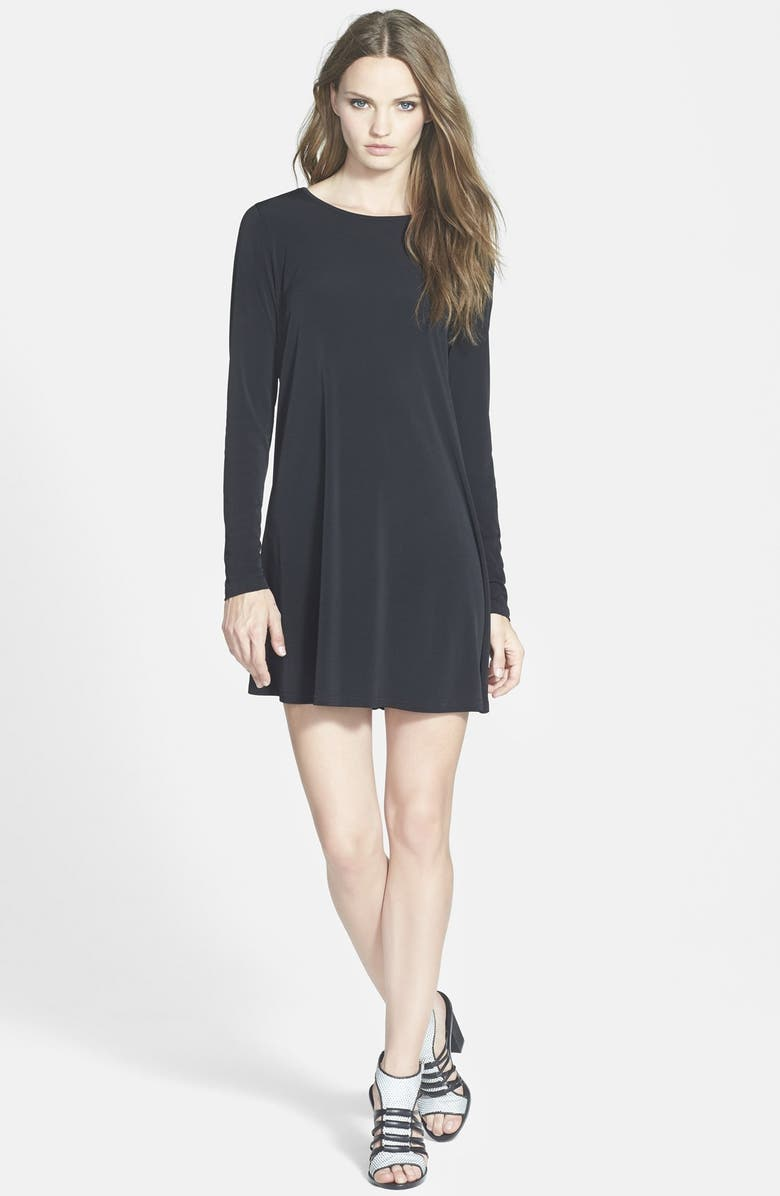 GLAMOROUS Long Sleeve Shift Dress, Main, color, 001