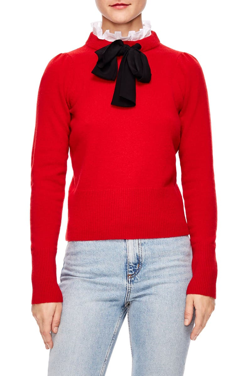 SANDRO Tie Ruffle Neck Sweater, Main, color, RED
