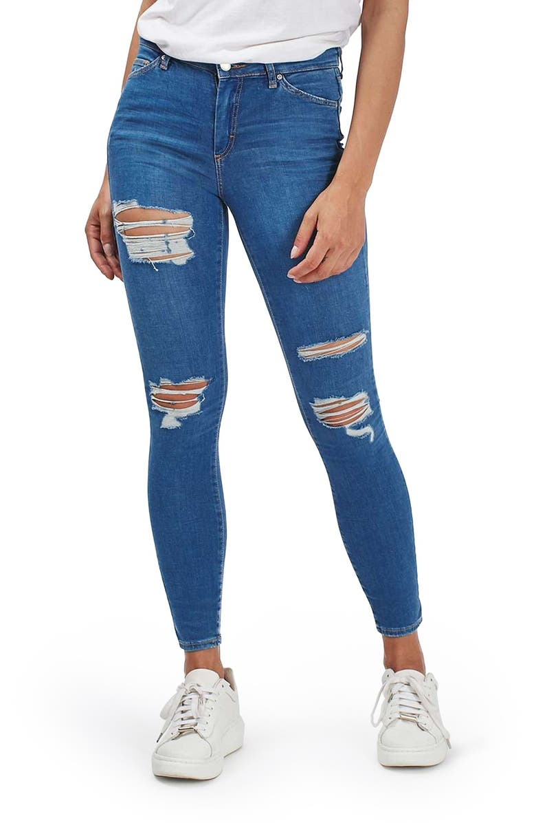 TOPSHOP Moto Leigh Super Ripped Ankle Skinny Jeans, Main, color, MID DENIM
