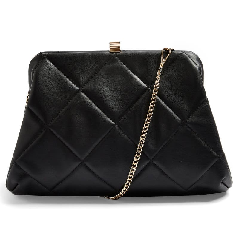 TOPSHOP Quilted Faux Leather Clutch, Main, color, 001