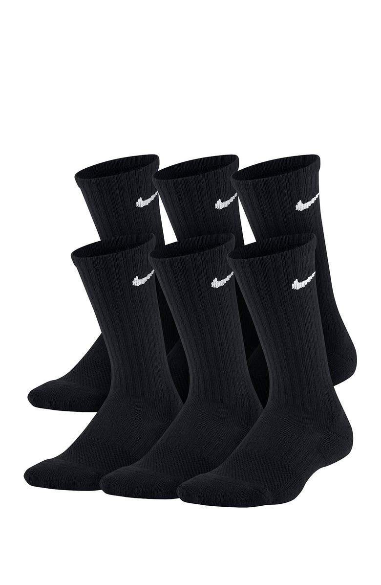 NIKE Everyday Cushioned Crew Socks - Pack of 6, Main, color, 010 BLACK/WHITE