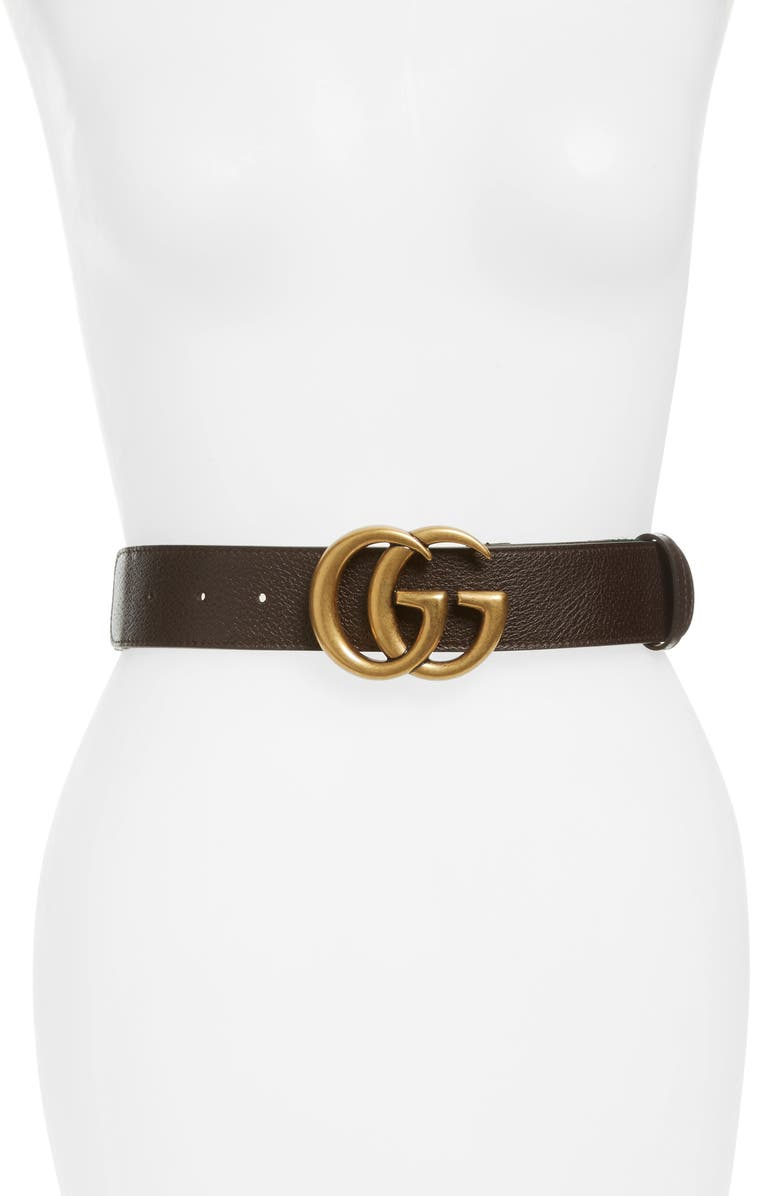 GUCCI Double G Leather & Web Belt, Main, color, 200
