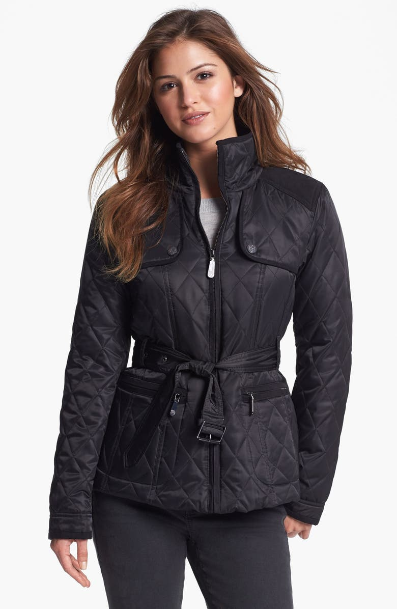 VINCE CAMUTO Quilted Field Jacket, Main, color, BLACK/ BLACK