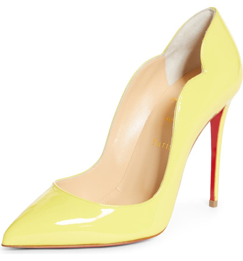 CHRISTIAN LOUBOUTIN Hot Chick Scallop Pointed Toe Pump, Main, color, CITRONNADE