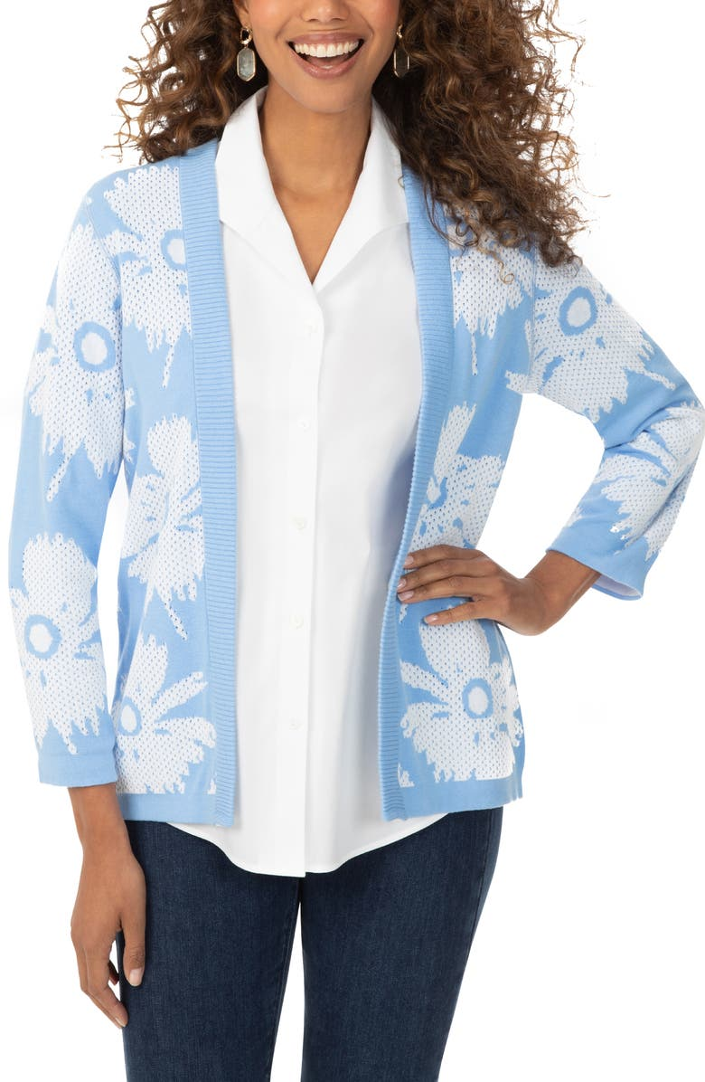 FOXCROFT Floral Pattern Reversible Open Front Cardigan, Main, color, COOL BLUE