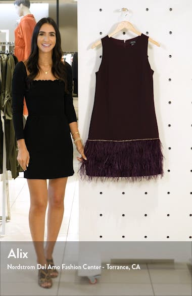 Feather Detail Sleeveless Crepe Shift Dress, sales video thumbnail