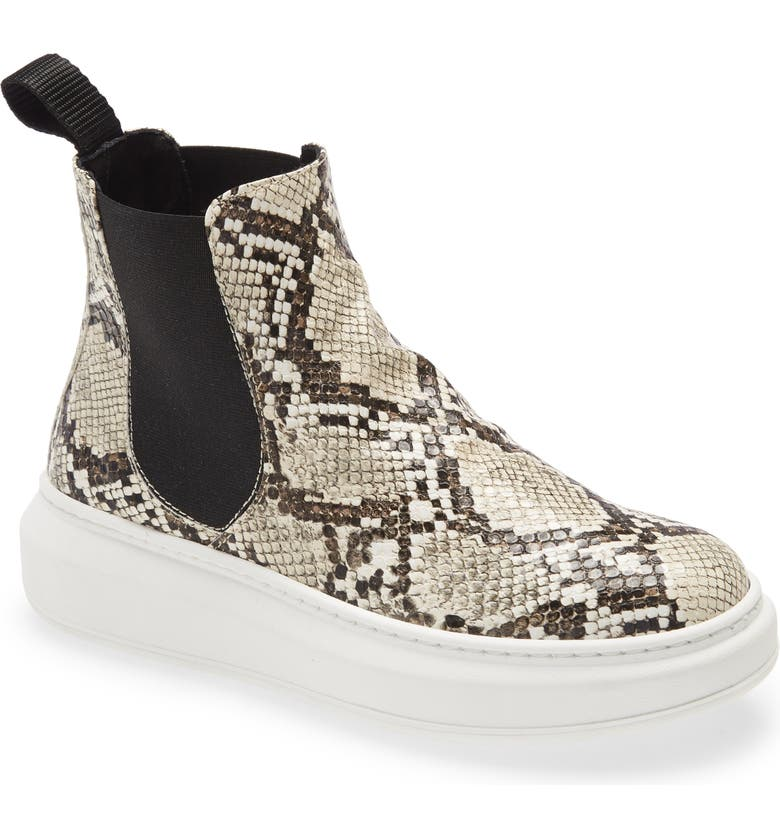 CORDANI Preston Embossed Leather Bootie, Main, color, WHITE PYTHON PRINT LEATHER