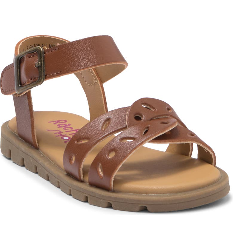 VALENCIA Perforated Strappy Sandal, Main, color, AMBER BROWN