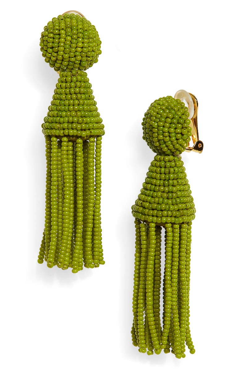 OSCAR DE LA RENTA Short Beaded Tassel Clip Earrings, Main, color, PEAR