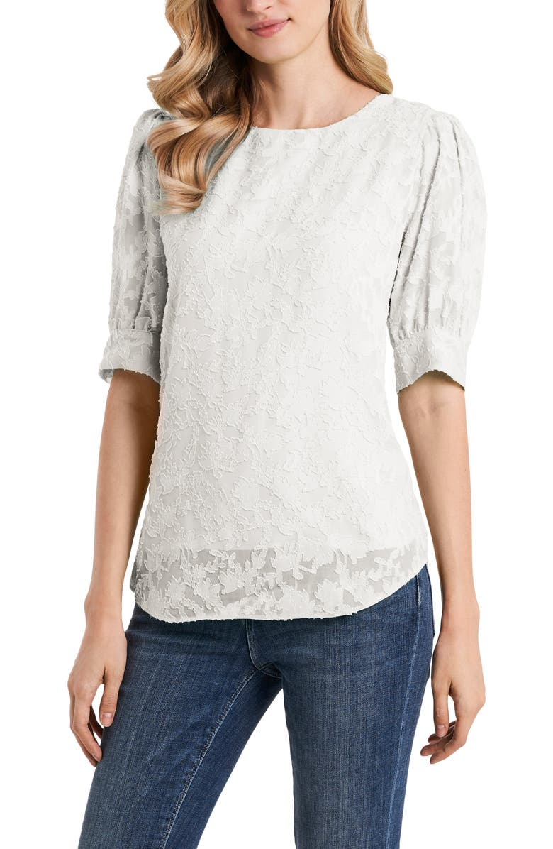 VINCE CAMUTO Jacquard Blouse, Main, color, NEW IVORY