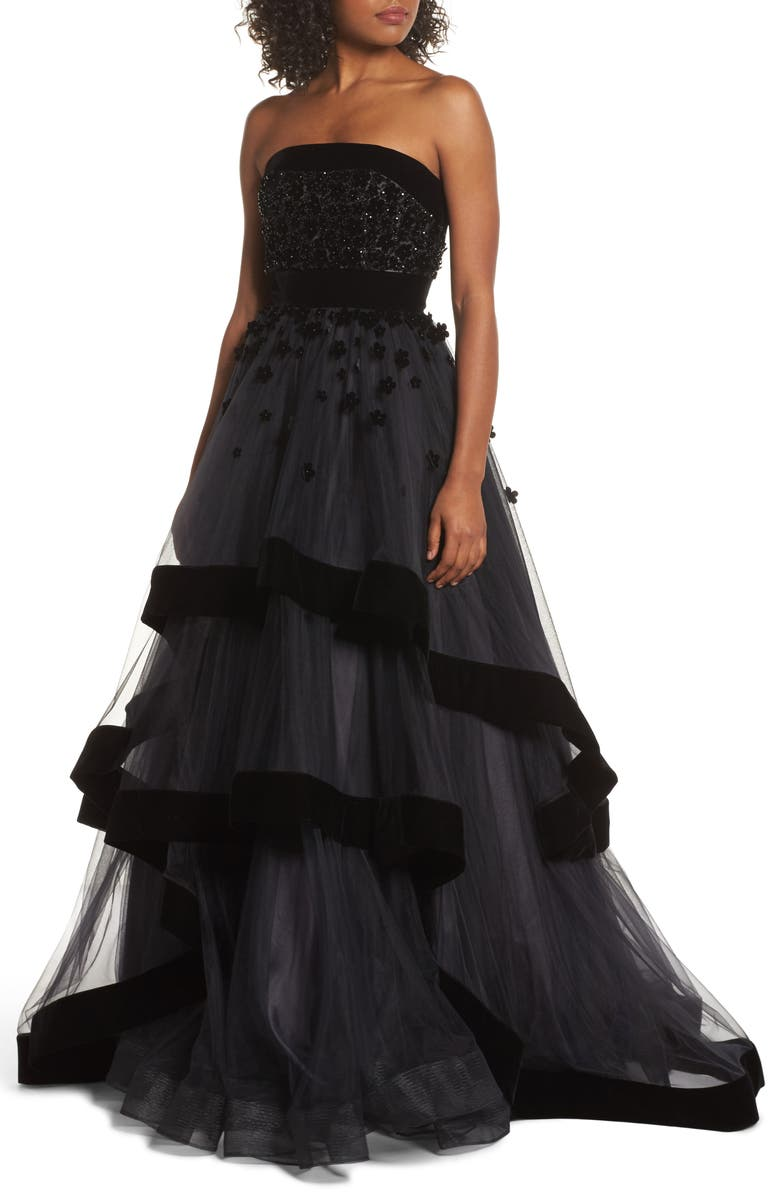 MAC DUGGAL Strapless Tiered Ballgown, Main, color, BLACK
