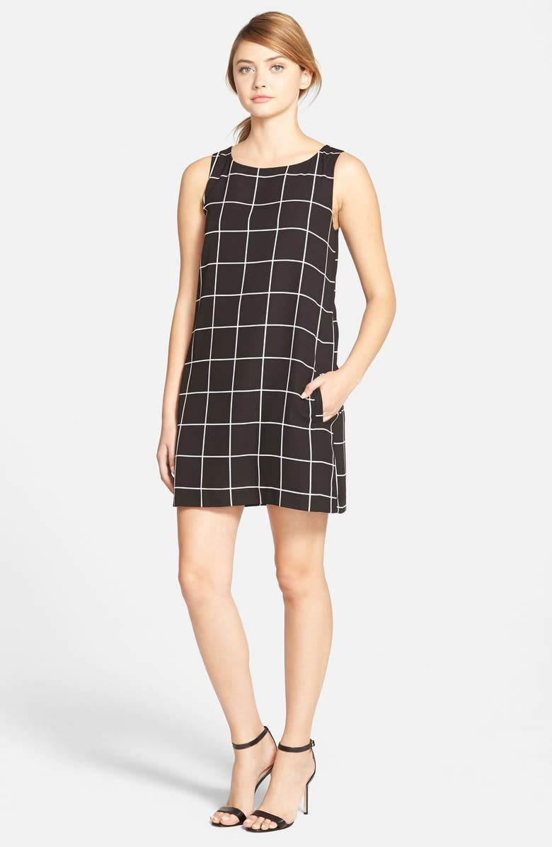 CUPCAKES AND CASHMERE Plaid Shift Dress, Main, color, 001