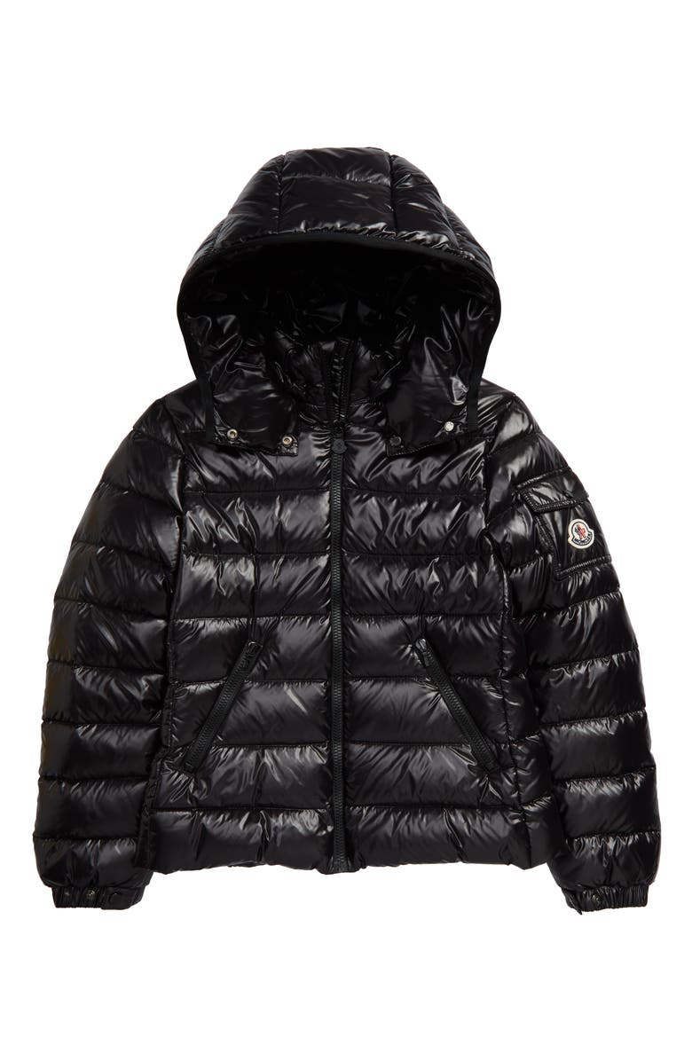 MONCLER Bady Water Resistant Down Hooded Puffer Jacket, Main, color, 001