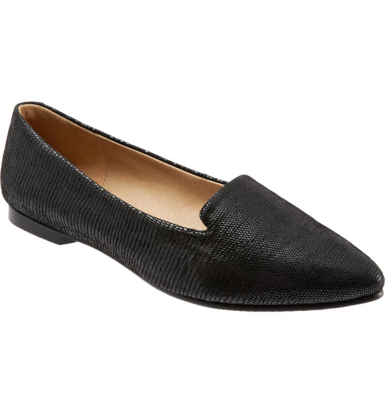 TROTTERS Harlowe Pointed Toe Loafer, Main, color, DARK BLACK LEATHER