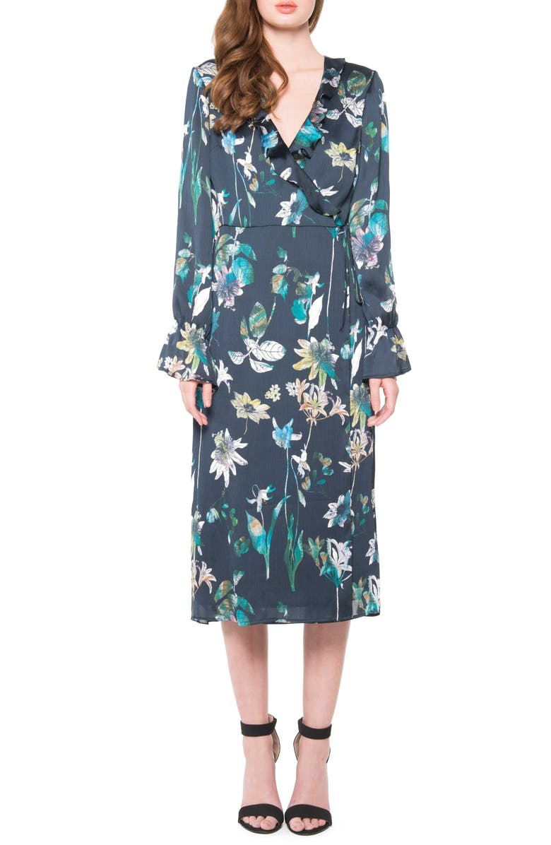 ZZDNU WILLOW & CLAY Willow & Clay Floral Wrap Dress, Main, color, NAVY