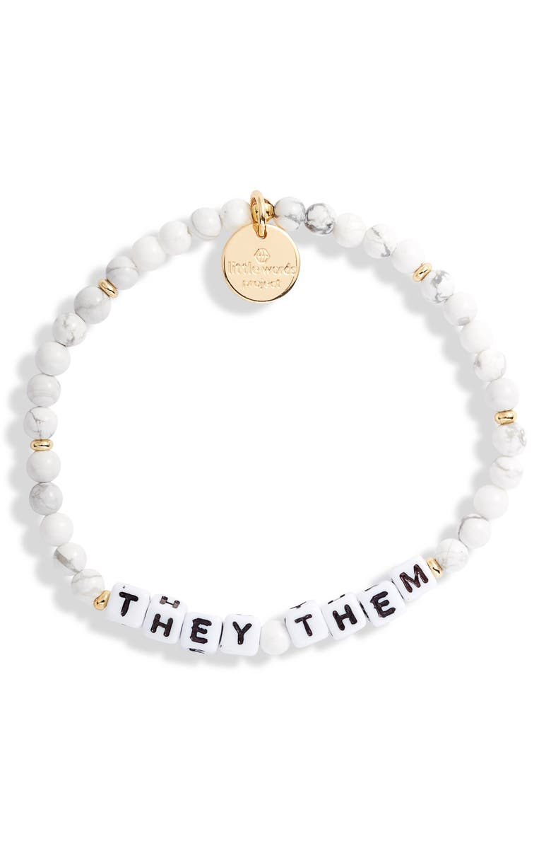 LITTLE WORDS PROJECT They/Them Stretch Bracelet, Main, color, WHITE HOWLITE