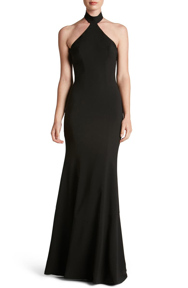 DRESS THE POPULATION Taylor Crepe Halter Gown, Main, color, 001