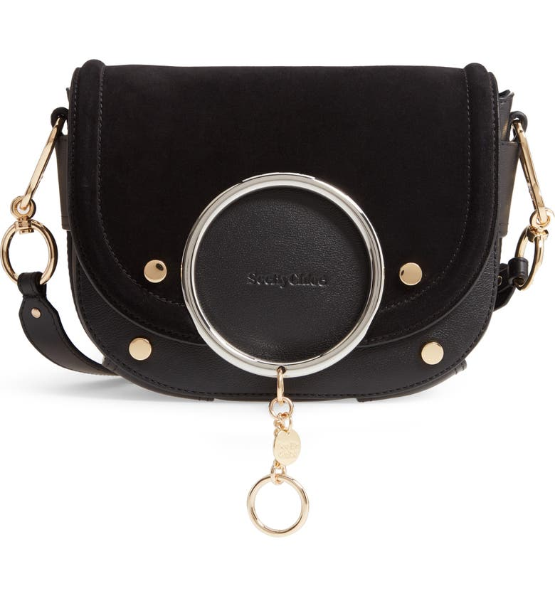 SEE BY CHLOÉ Mara Leather Crossbody Bag, Main, color, 001