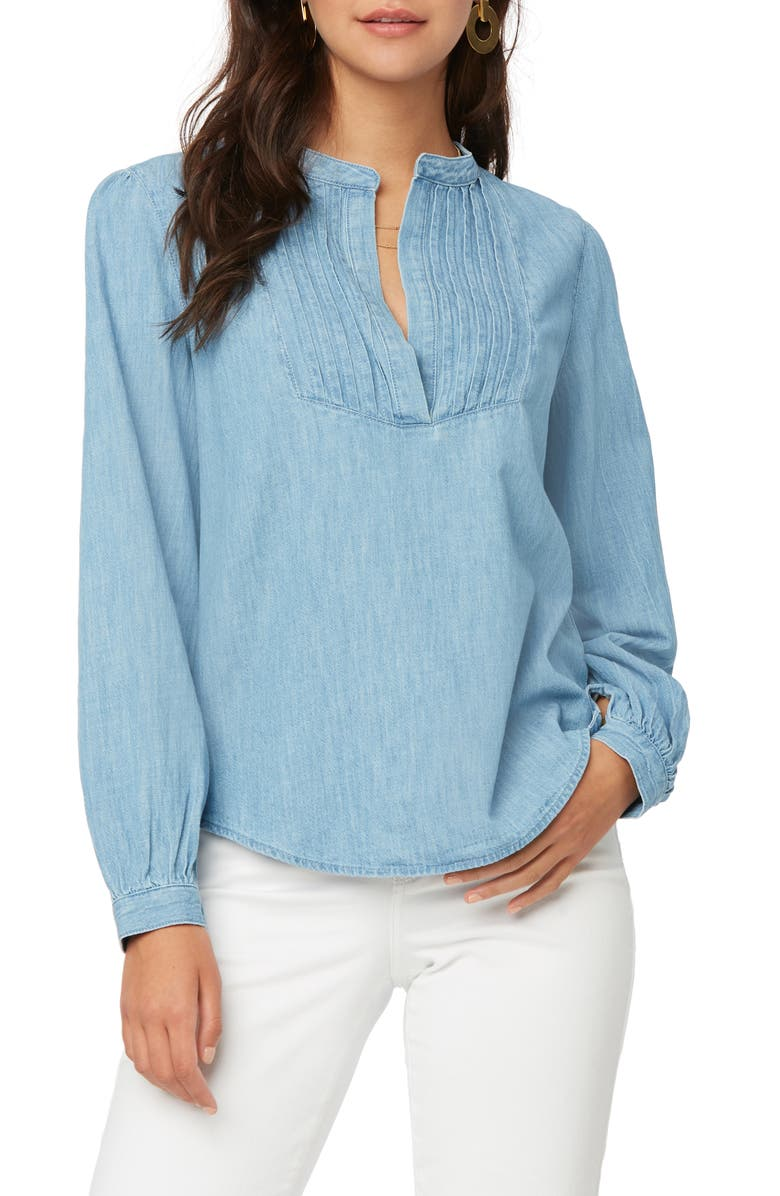 NYDJ Pleated Bib Chambray Shirt, Main, color, LIGHT STONE