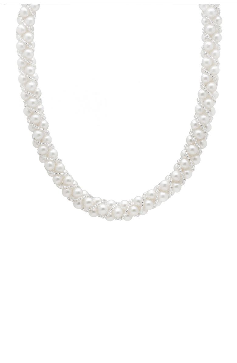 SPLENDID PEARLS White 7-7.5mm Freshwater Pearl & Clear Bead Woven Necklace, Main, color, white