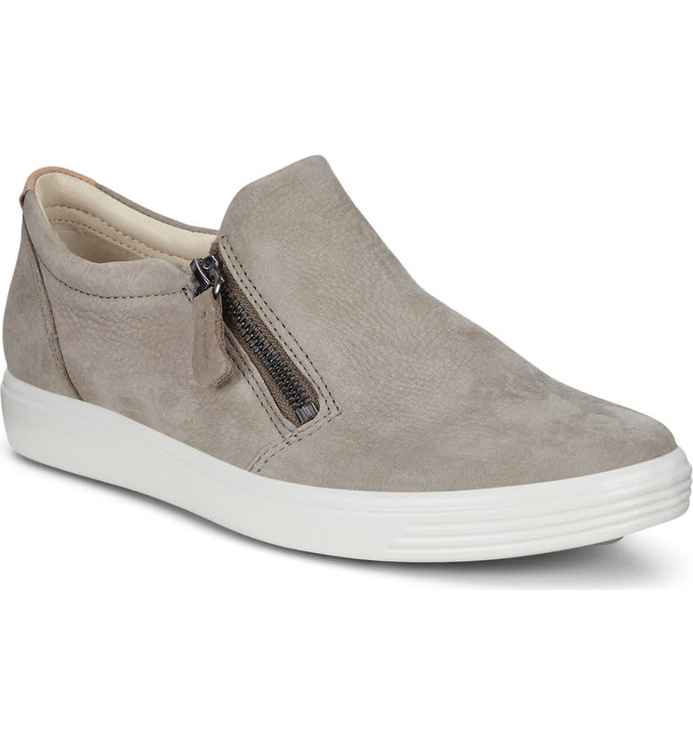 ECCO Soft 7 Side Zip Sneaker, Main, color, WARM GREY NUBUCK LEATHER
