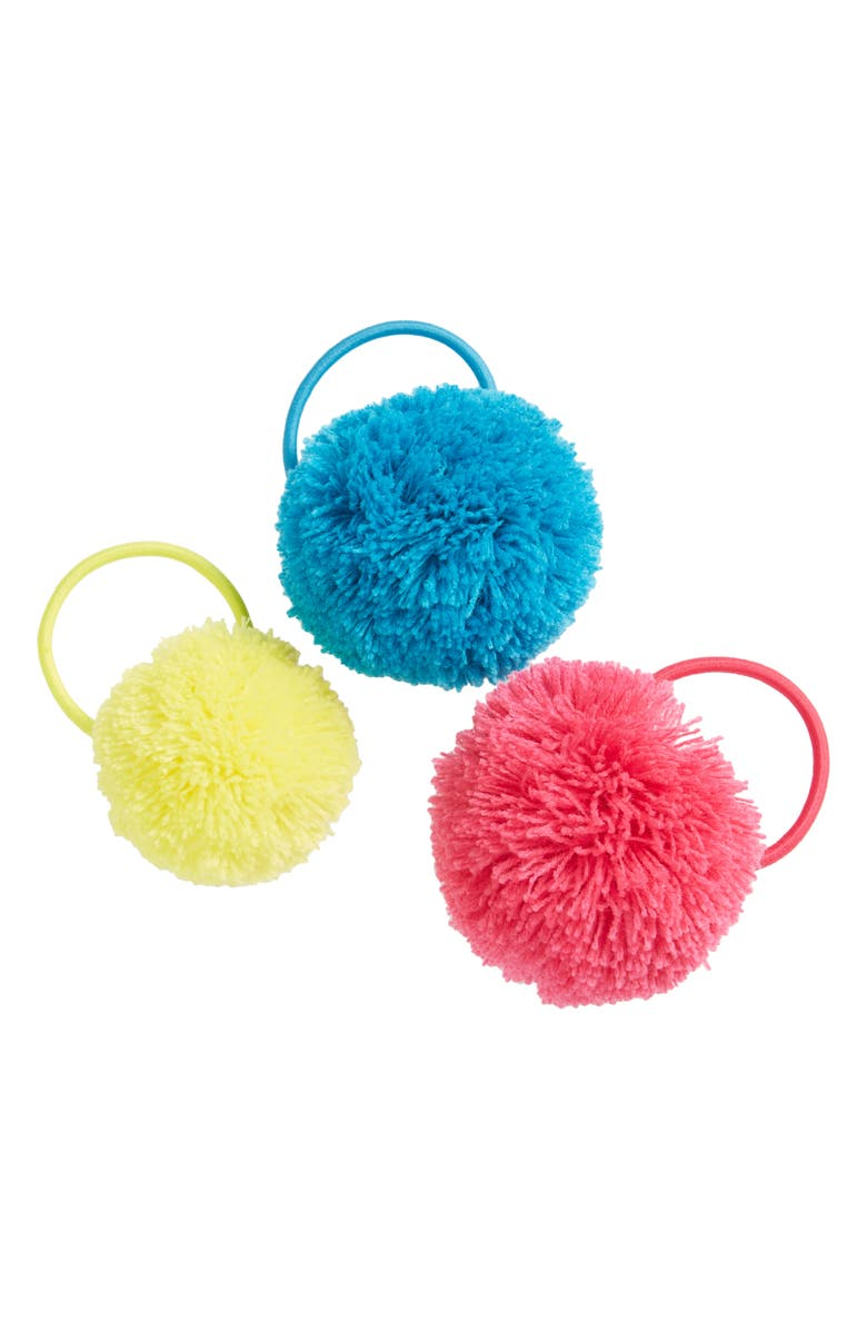 TUCKER + TATE Kids' 3-Pack Pompom Hair Ties, Main, color, PINK CAMELIA POM PACK