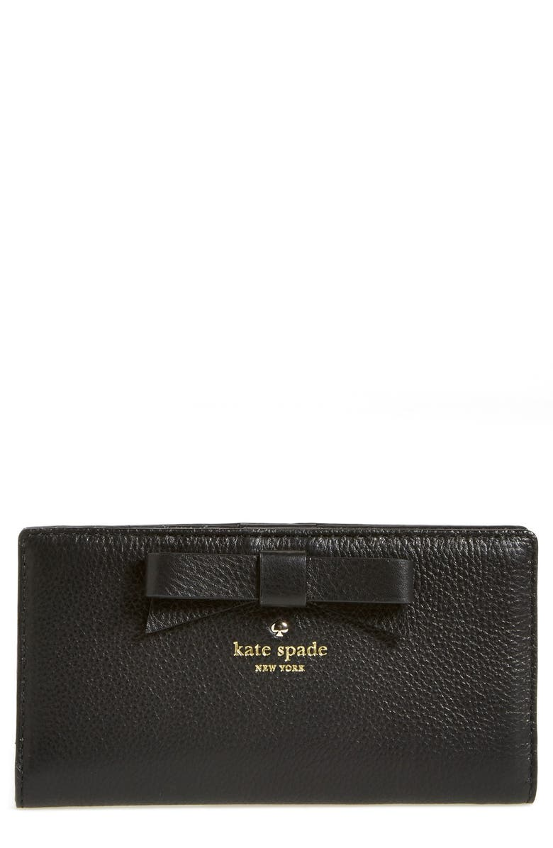 KATE SPADE NEW YORK 'north court - bow stacy' pebbled leather wallet, Main, color, BLACK