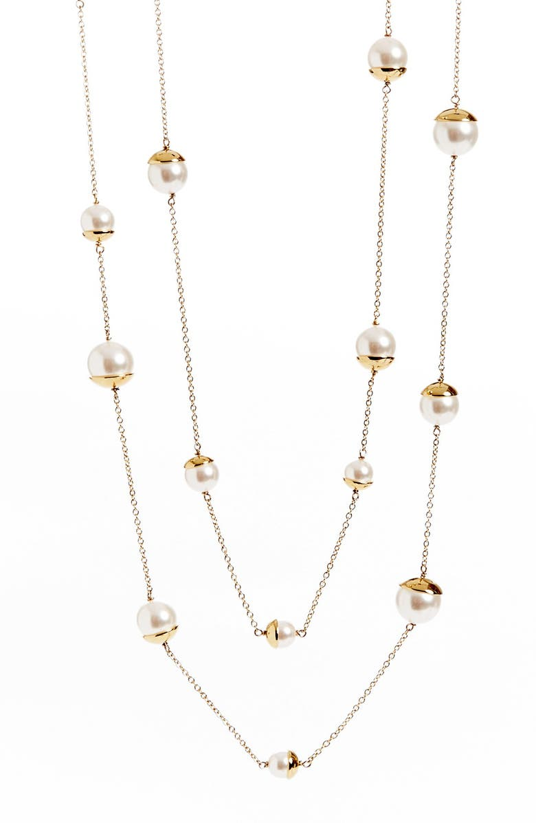 ST. JOHN COLLECTION Glass Pearl & Chain Rope Necklace, Main, color, LIGHT GOLD/ WHITE PEARL
